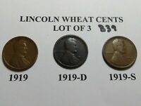 1919 1919-D 1919-S SET -LOT OF 3 LINCOLN WHEAT CENT COLLECTION COMB.SHIP LOT B39