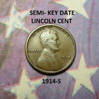 1914-S LINCOLN WHEAT CENT  HIGH GRADE  KEY DATE   COMB SHIP  LOT 1627