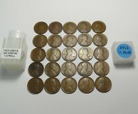 1912 LINCOLN WHEAT CENTS HALF ROLL  25 SOLID DATE TEENS  LOT S155