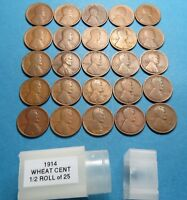 1914 LINCOLN WHEAT CENTS HALF ROLL  25 SOLID DATE TEENS COMB SHIP LOT 787