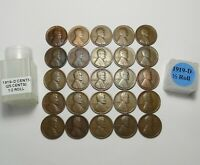 1919-D LINCOLN WHEAT CENTS HALF ROLL  25 SOLID DATE TEENS  LOT S149