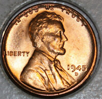 1945-D WHEAT CENT UNCIRCULATED CHOICE RED [SN62]