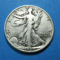 1942-D WALKING LIBERTY HALF DOLLAR  90 SILVER  COMBINED SHIPPING  LOT 1728