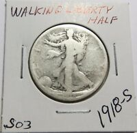 1918-S WALKING LIBERTY HALF DOLLAR FOR COLLECTION SET OR GIFT COMB SHIP LOT S03