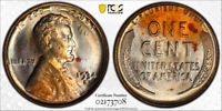 1934-D LINCOLN WHEAT CENT PENNY 1C PCGS MINT STATE 64 RED  REALLY COOL RAINBOW TONING