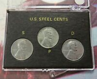 1943 1943-D 1943-S LINCOLN STEEL WHEAT CENT SET OF 3 WW2 CENTS IN CASE  LOT A362