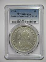 1799 DRAPED BUST DOLLAR $1 90 SILVER PCGS  FINE-DETAILS GRADED COIN