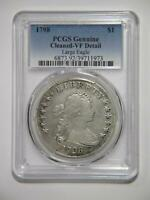 1798 DRAPED BUST DOLLAR $1 90 SILVER PCGS  FINE-DETAILS GRADED COIN