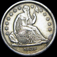 1838 SEATED LIBERTY DIME SILVER TYPE COIN ---- STUNNING ---- B039