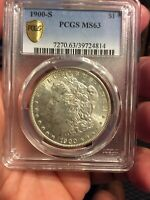 1900-S MORGAN PCGS MINT STATE 63 GOLD SHIELD 100 SECURITY AUTHENTICY SILVER DOLLAR COIN