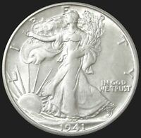 1941 S SILVER US WALKING LIBERTY HALF DOLLAR 50C COIN ABOUT UNC