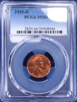 1955-D LINCOLN WHEAT CENT PCGS MINT STATE 66RD ET2022C/BC