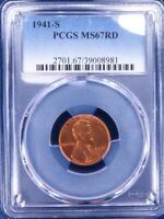 1941-S LINCOLN MEMORIAL CENT PCGS MINT STATE 67RD ET2039C/BQN