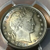PCGS MINT STATE 64 BARBER SILVER QUARTER RAINBOW TONING