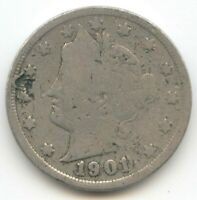 USA 1901 FIVE CENT AMERICAN LIBERTY NICKEL 5C EXACT COIN SHOWN