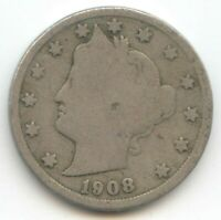 USA 1908 FIVE CENT AMERICAN LIBERTY NICKEL 5C EXACT COIN SHOWN