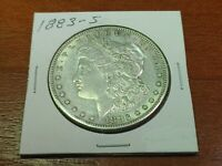 1883-S MORGAN SILVER DOLLAR  AU WITH LOTS OF LUSTER