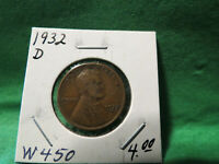 1932 D LINCOLN WHEAT CENT LOT W450
