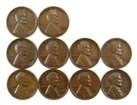 LOT OF 10 1932 D LINCOLN WHEAT CENT PENNIES VF/VF WITH LIGHT BLEMISHES 155100