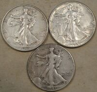 1935 EXTRA FINE , 1941 EXTRA FINE -AU,  1941-D F-VF WALKING LIBERTY HALF DOLLARS 50C AS PICTURED