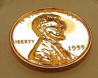 1955   LINCOLN  CHOICE  PROOF  WHEAT  CENT   >  BLAZING  RED <   630  27