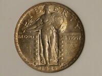 1924 STANDING LIBERTY QUARTER AU 53 ANACS OH ALMOST UNCIRCULATED DIE CRACK DATE