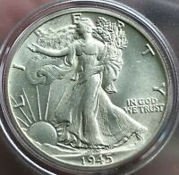 BU 1945 WALKING LIBERTY HALF DOLLAR-SEE ALL PHOTOS AND COMMENTS