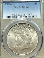 1926S PEACE SILVER DOLLAR PCGS MINT STATE 63