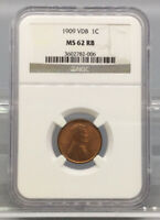 1909 VDB LINCOLN WHEAT CENT PENNY NGC MINT STATE 62 RB