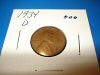 1934 D - USA ONE CENT COIN - AMERICAN WHEAT CENT -