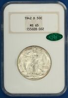1942-D WALKING LIBERTY HALF. OLD NGC MINT STATE 65 CAC.  ET2257/BNH