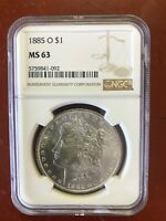 1885-O MINT STATE 63 MORGAN SILVER DOLLAR SILVER COIN NGC MINT STATE 63