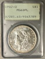 1902-O MORGAN SILVER DOLLAR $1, PCGS MINT STATE 60PL. OGH RATTLER. PROOFLIKE.
