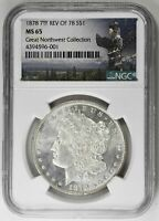 1878 7TF $1 REVERSE OF 1878 MORGAN DOLLAR NGC MINT STATE 65 BLAST WHITE SILVER COIN RA