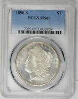 1890-S $1 MORGAN DOLLAR PCGS MINT STATE 65 BLAST WHITE BLAZING LUSTER  COIN  COIN