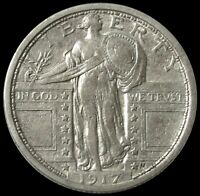 1917 SILVER TYPE II STANDING LIBERTY QUARTER EXTRA FINE