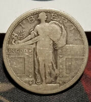 1917 SILVER STANDING LIBERTY QUARTER, TYPE 1, PARTIAL DATE