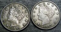 1891 1907 LIBERTY V NICKELS ----  LOT ---- B515