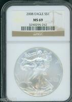 2008 AMERICAN SILVER EAGLE ASE S$1 NGC MINT STATE 69 MINT STATE 69 BEAUTIFUL PREMIUM QUALITY P.Q.