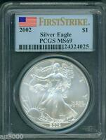2002  AMERICAN SILVER EAGLE ASE S$1 PCGS MINT STATE 69 MINT STATE 69 FIRST STRIKE FS