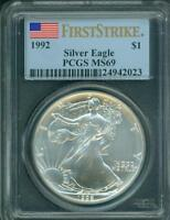 1992 AMERICAN SILVER EAGLE ASE S$1 PCGS MINT STATE 69 FIRST STRIKE FS MINOR BLEMISHES