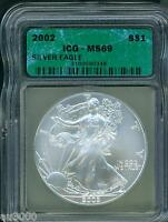 2002 AMERICAN SILVER EAGLE ASE S$1 ICG MINT STATE 69 MINT STATE 69 BEAUTIFUL