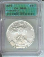 2005 AMERICAN SILVER EAGLE ASE S$1 ICG MINT STATE 69 MINT STATE 69 BEAUTIFUL PREMIUM QUALITY P.Q.