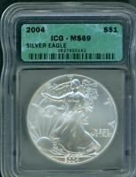 2004 AMERICAN SILVER EAGLE ASE S$1 ICG MINT STATE 69 MINT STATE 69 BEAUTIFUL