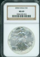 2004 AMERICAN SILVER EAGLE S$1 ASE NGC MINT STATE 69 MINT STATE 69 MILK SPOTS SEE PHOTOS