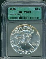 1988 AMERICAN SILVER EAGLE ASE S$1 ICG MINT STATE 69 MINT STATE 69 BEAUTIFUL