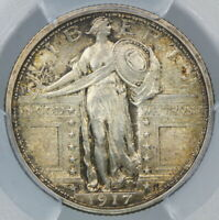 BETTER DATE PCGS MINT STATE 64 FH 1917-D TYPE 1 STANDING LIBERTY SILVER QUARTER T1 25C