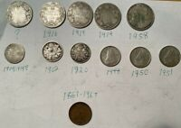 LOT OF 12 OLD CANADIAN COINS WITH SILVER  & 1954 DOLLAR BILL