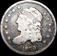 1836 CAPPED BUST HALF DIME SILVER US COIN ---- TYPE COIN  DETAILS ---- B900