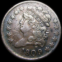 1809/6 CLASSIC HEAD HALF CENT 1/2 PENNY TYPE US COIN  ----   ---- B972